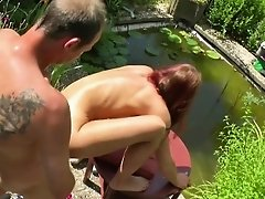German Step-Mom Seduce To Fuck Outdoor in Garden