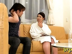 Pretty japanese lady gets her large tits and fur pie drilled