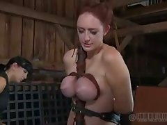 This BDSM video shows the mistress hitting the slave with a wooden stick