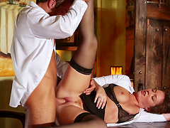 Hottie in lingerie has clothed sex on her boss's desk