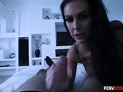 Mad MILF stepmom played with his big dick to feel better