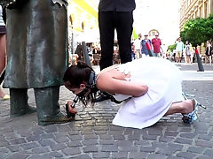 Mature Cherry Kiss tied up and humiliated in public