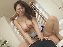 Busty Japanese milf Hinata Komine rides a dick with her big booty
