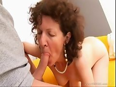 Vivacious granny gives a wild blowjob then gets her hairy pussy pounded hardcore