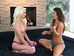 Smoking hot lesbian girlfriends take off bras and panties
