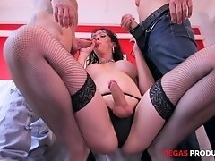 Shemale in stockings Danika Dreamz fucked by two well hung guys