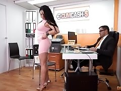Busy secretary Evita Love swallows her bosses cum in the office