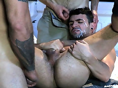 Gay fast food worker pounded and cum covered by two customers