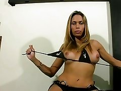 Long haired blonde tranny exposes her latina shecock