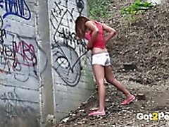 Dirty teen hookers piss on fresh air in different places