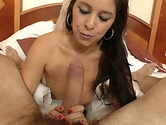 Brunette with corset and stockings sucks dick and gets fucked in the ass