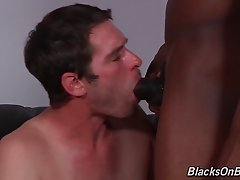 A gay black guy fucks a white guy then they jerk off together