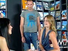 Mature blonde mom getting screwed missionary style in a book store