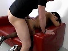Tattooed raven haired fuck doll in stockings gets banged in multiple poses rough