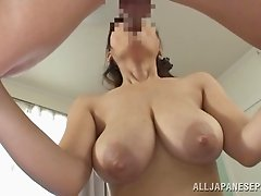 Big natural Japanese titties jiggle as he nails her hole