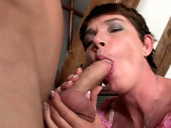 He fucks hairy pussy mother-in-law from behind