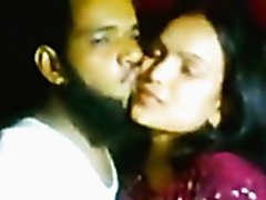 Indian bearded man eats his naughty brunette girlfriend's pussy