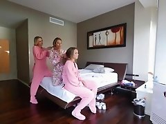 Pajama party ending with heavy fucking for each girl