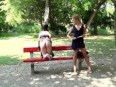 Rebecca Volpetti and Cherry Kiss in a hardcore public humiliation