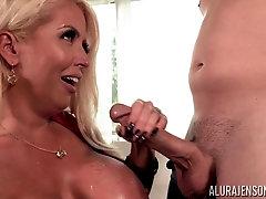 Huge fake boobs of MILF blonde Alura Jenson get a huge load