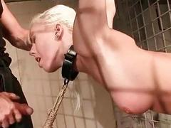 Cute blonde slave girl gets bound fingered and fucked roughly