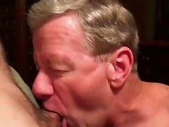 Old Faggot Cocksucker Gets Cum Facial and Eats Cum
