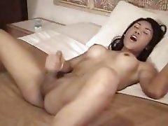 ladyboy cums hard