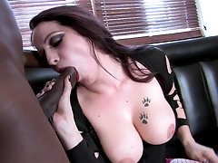 Tattooed busty pale slut Sasha Rose loves getting pounded by a BBC