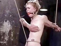 Tied up BDSM lady gets her pussy toyed super hard