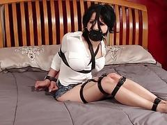 Hogtied bimbo Hannah tries to escape from bondage junkies BDSM