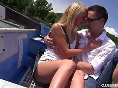 Hot date on a boat leads to fantastic sex for giddy blonde