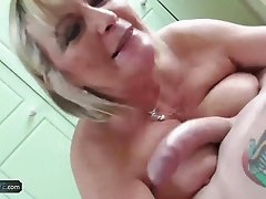 Older mature chubby blonde granny fucked hard by youngster