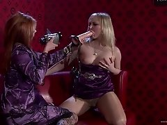 Palpitating lesbian babe in pantyhose masturbating with a toy before being throbbed with a strapon