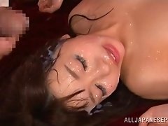 Amazing asian babe Mei gets banged hardcore in group fuck