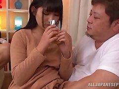 Alluring Japanese dames delivering stunning blowjob before masturbating in group sex