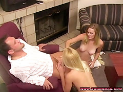 Erin Moore and Phoenix Rae play with toys before a threesome