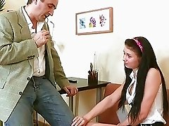 Playgirl is giving older teacher a oral session