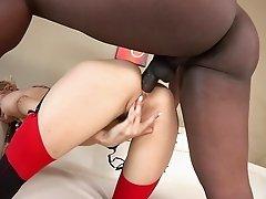 Skinny white girl Natasha Starr ass fucked by a big black cock