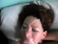 Charming amateur babe takes a hot load of jizz on her face