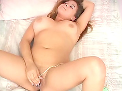 Busty latina chick with sex toy enjoying solo masturbation