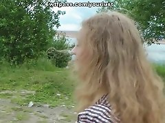 Curly light haired country girl gets nailed from behind and gives BJ outdoors