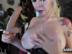 Tattooed Girl Extreme Huge Toy Deepthroat on Webcam