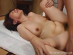 Her mature Asian pussy is hungry for a cock after a sweet fingering
