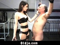Old man likes being molested by hot young girl BDSM