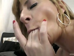 Giant breasted auburn whore Sara Jay teases cunt before giving BJ