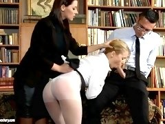 Three Way Lovemaking In Library - PornGem