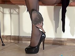 Nylon stockings for a foot fetish by a luscious bombshell