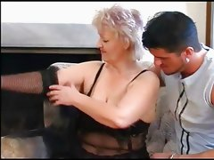 Plump Old Blonde Granny in Stockings Fucks