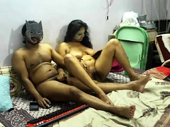 Masked Indian lovers engage in wild sex action on webcam