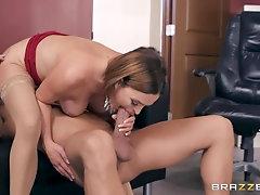 Office missionary fuck and cum on boobs for secretary Krissy Lynn